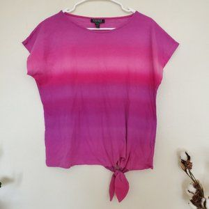 Lauren Ralph Lauren Pink Ombre Tie Waist Top